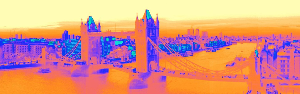 A composite thermal image of Tower Bridge, the Thames and Canary Wharf, taken from City Hall