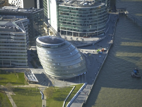 Aerial image of City Hall, London